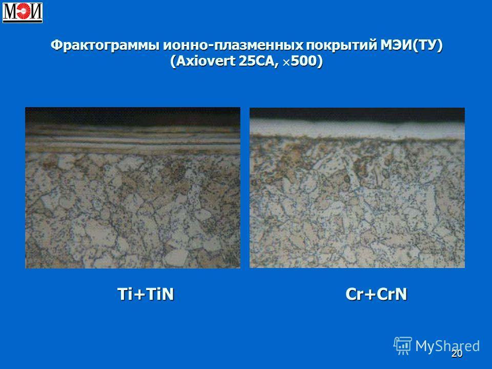 20 Фрактограммы ионно-плазменных покрытий МЭИ(ТУ) (Axiovert 25CA, 500) Ti+TiN Cr+CrN Ti+TiN Cr+CrN
