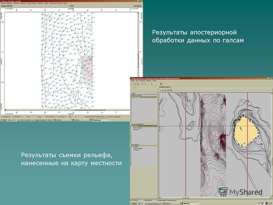 Результаты апостериорной обработки данных по галсам Результаты съемки рельефа, нанесенные на карту местности