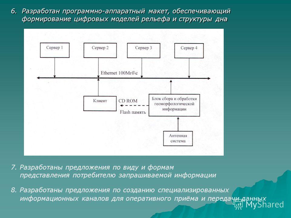 6. Разработан программно-аппаратный макет, обеспечивающий формирование цифровых моделей рельефа и структуры дна 7. Разработаны предложения по виду и формам представления потребителю запрашиваемой информации 8. Разработаны предложения по созданию спец
