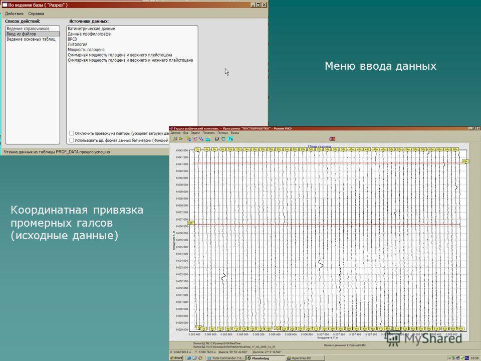 Меню ввода данных Координатная привязка промерных галсов (исходные данные)
