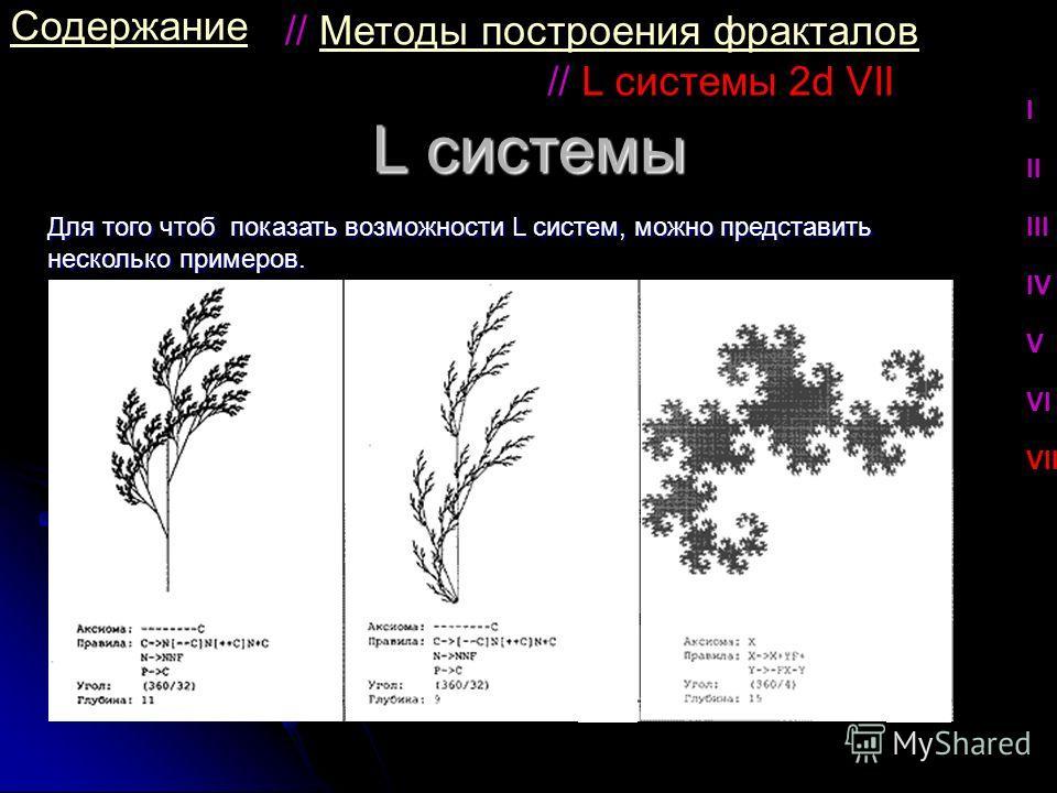 L системы Содержание Для того чтоб показать возможности L систем, можно представить несколько примеров. // L системы 2d VII I II III IV V VI VII // Методы построения фракталовМетоды построения фракталов