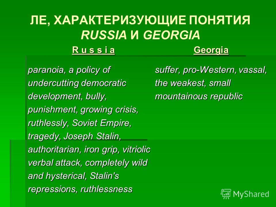 ЛЕ, ХАРАКТЕРИЗУЮЩИЕ ПОНЯТИЯ RUSSIA И GEORGIA R u s s i aR u s s i aR u s s i aR u s s i a paranoia, a policy of undercutting democratic development, bully, punishment, growing crisis, ruthlessly, Soviet Empire, tragedy, Joseph Stalin, authoritarian,
