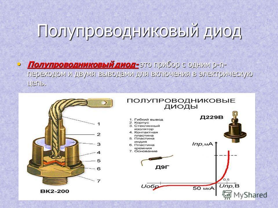 Полупроводниковый диод Полупроводниковый диод- это прибор с одним p-n- переходом и двумя выводами для включения в электрическую цепь. Полупроводниковый диод- это прибор с одним p-n- переходом и двумя выводами для включения в электрическую цепь.