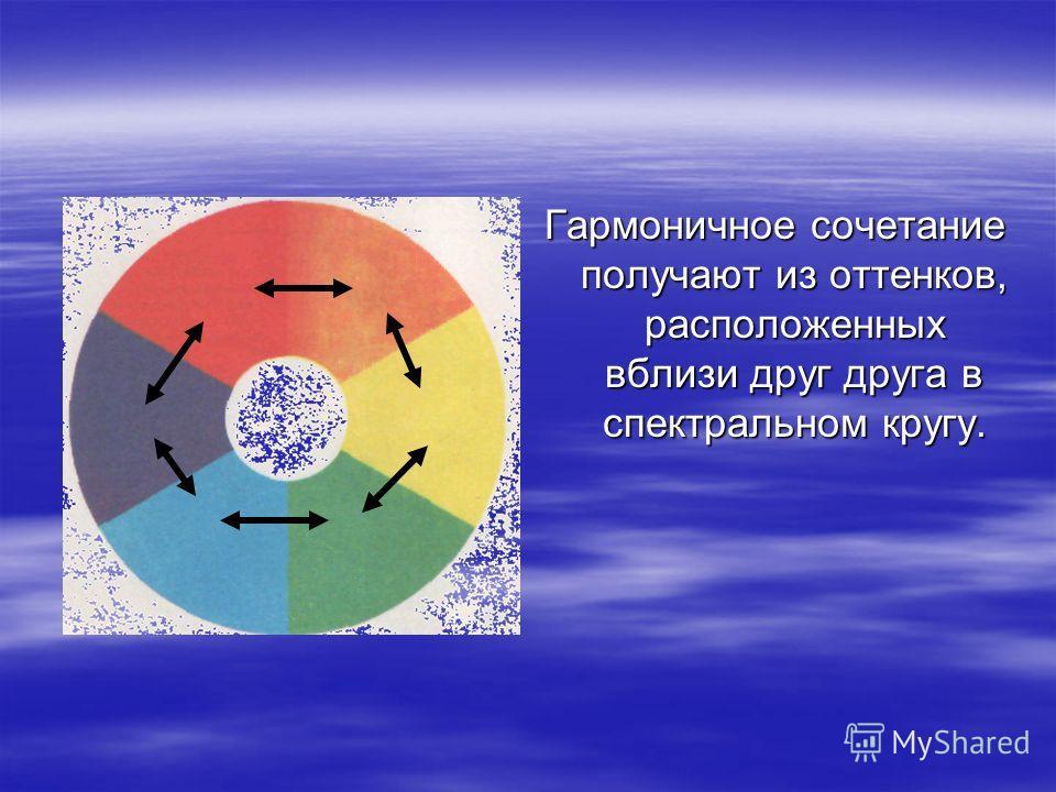Гармоничное сочетание получают из оттенков, расположенных вблизи друг друга в спектральном кругу.