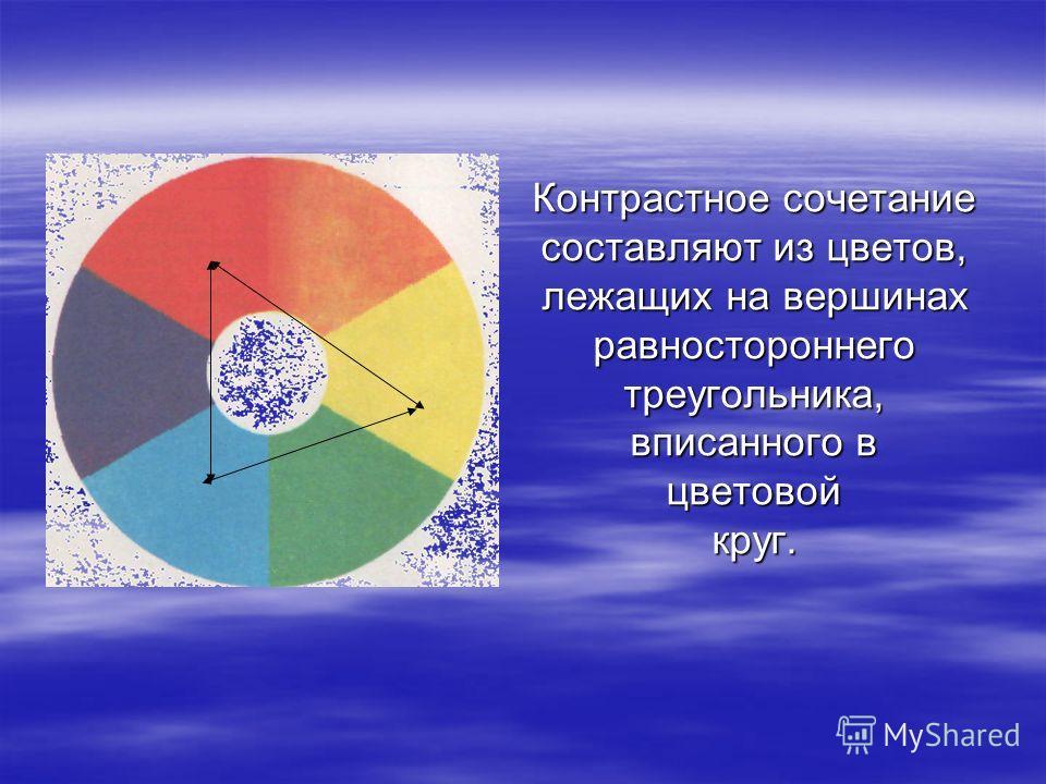 Контрастное сочетание составляют из цветов, лежащих на вершинах равностороннего треугольника, вписанного в цветовой круг.