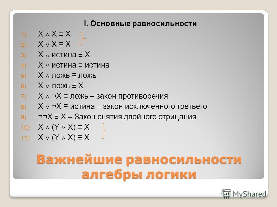 Важнейшие равносильности алгебры логики I. Основные равносильности 1) X ˄ X X 2) X ˅ X X 3) X ˄ истина X 4) X ˅ истина истина 5) X ˄ ложь ложь 6) X ˅ ложь X 7) X ˄ ¬X ложь – закон противоречия 8) X ˅ ¬X истина – закон исключенного третьего 9) ¬¬X X –