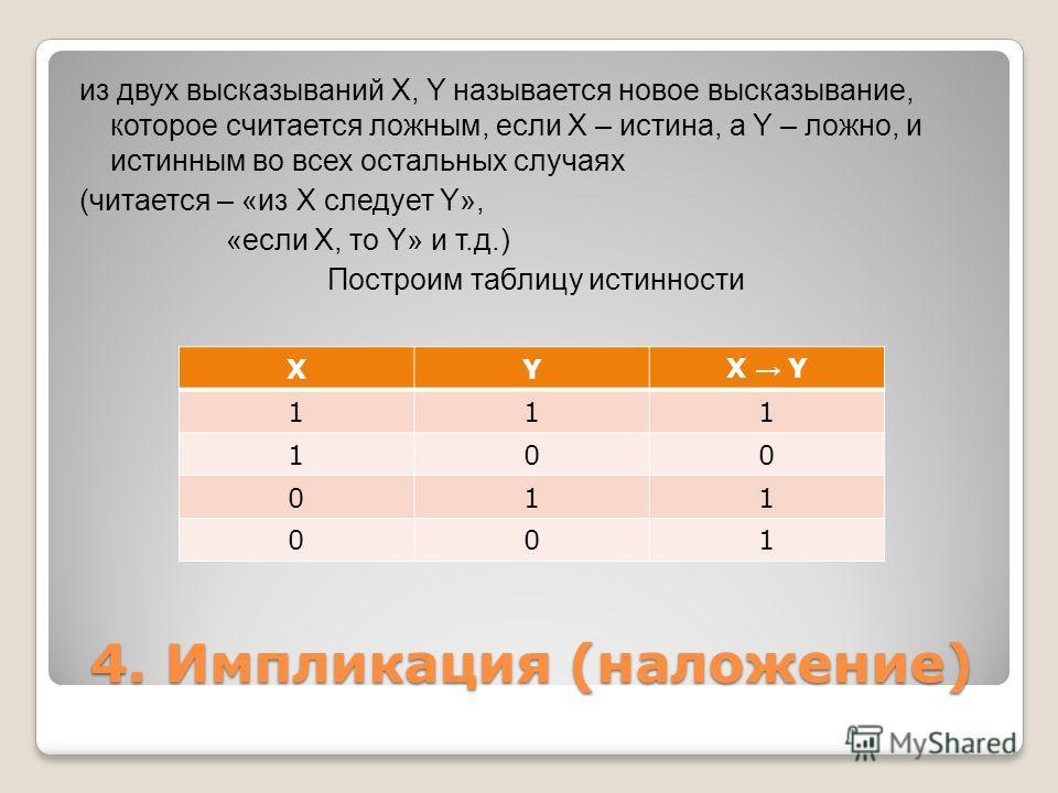 4. Импликация (наложение) из двух высказываний X, Y называется новое высказывание, которое считается ложным, если X – истина, а Y – ложно, и истинным во всех остальных случаях (читается – «из X следует Y», «если X, то Y» и т.д.) Построим таблицу исти