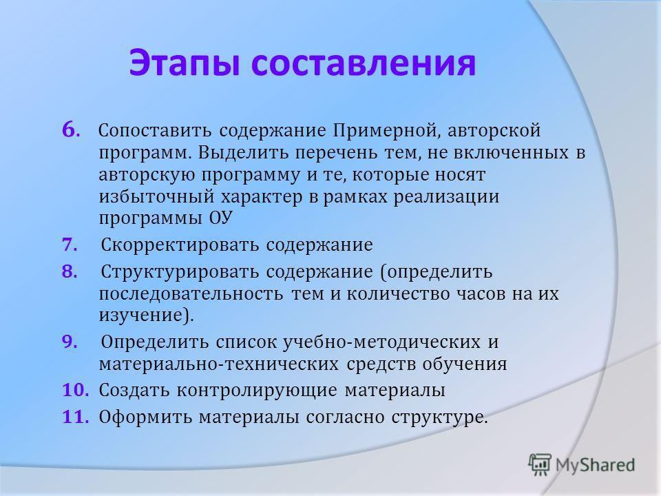 Этапы составления 6. Сопоставить содержание Примерной, авторской программ. Выделить перечень тем, не включенных в авторскую программу и те, которые носят избыточный характер в рамках реализации программы ОУ 7. Скорректировать содержание 8. Структурир