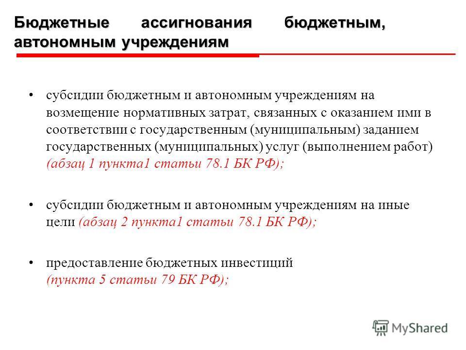 субсидии бюджетным и автономным учреждениям на возмещение нормативных затрат, связанных с оказанием ими в соответствии с государственным (муниципальным) заданием государственных (муниципальных) услуг (выполнением работ) (абзац 1 пункта1 статьи 78.1 Б