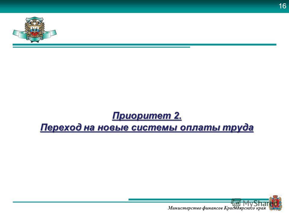 Министерство финансов Красноярского края Приоритет 2. Переход на новые системы оплаты труда 16