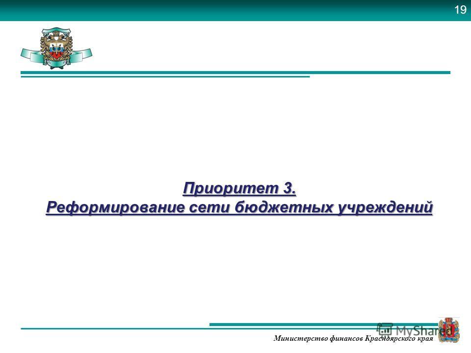 Министерство финансов Красноярского края Приоритет 3. Реформирование сети бюджетных учреждений 19