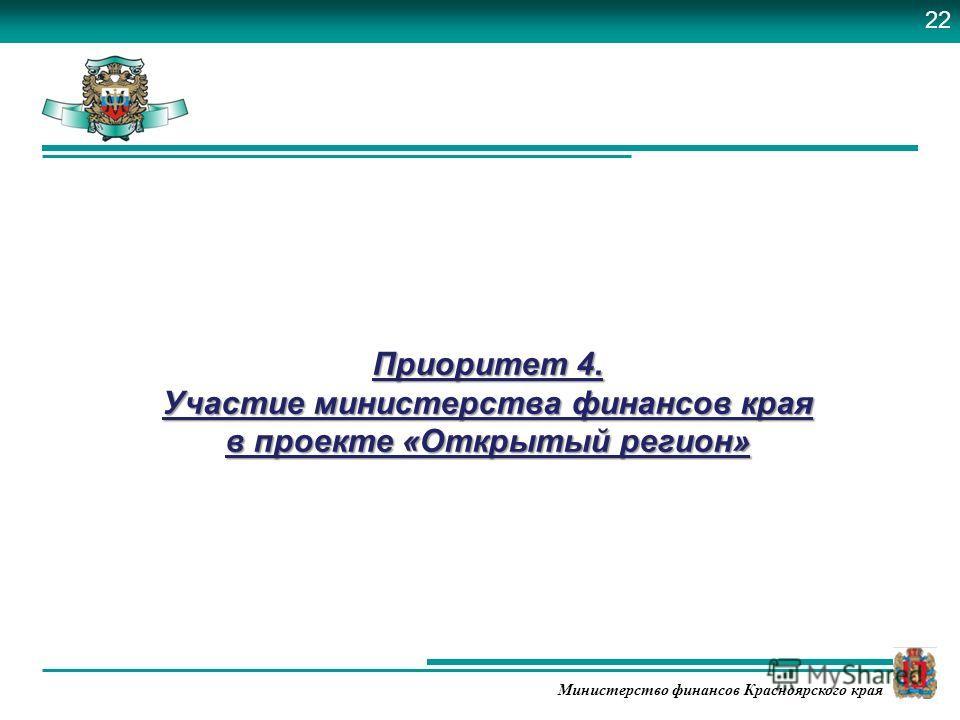 Министерство финансов Красноярского края Приоритет 4. Участие министерства финансов края в проекте «Открытый регион» 22