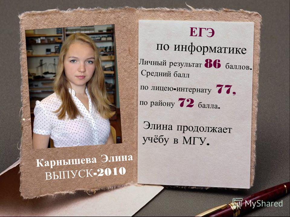 . Карнышева Элина ВЫПУСК -2010 ЕГЭ по информатике Личный результат 86 баллов. Средний балл по лицею - интернату 77, по району 72 балла. Элина продолжает учёбу в МГУ.