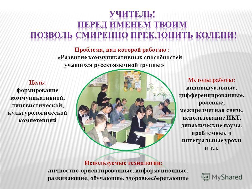 Проблема, над которой работаю : «Развитие коммуникативных способностей учащихся русскоязычной группы» Цель: формирование коммуникативной, лингвистической, культурологической компетенций Методы работы: индивидуальные, дифференцированные, ролевые, межп