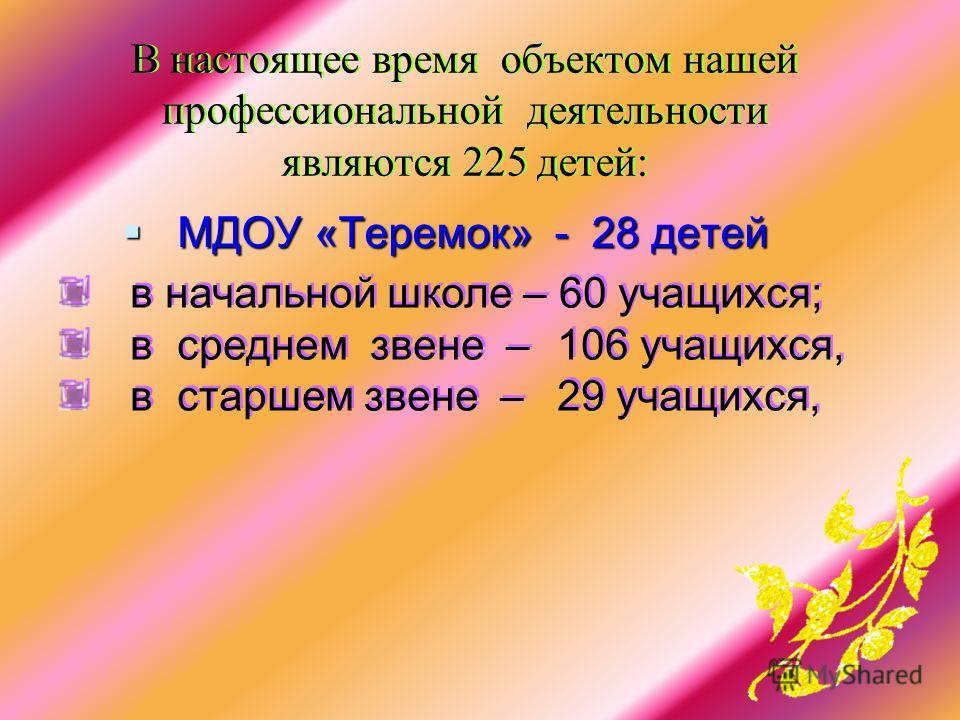 В настоящее время объектом нашей профессиональной деятельности являются 225 детей: МДОУ «Теремок» - 28 детей МДОУ «Теремок» - 28 детей в начальной школе – 60 учащихся; в среднем звене – 106 учащихся, в старшем звене – 29 учащихся, в начальной школе –