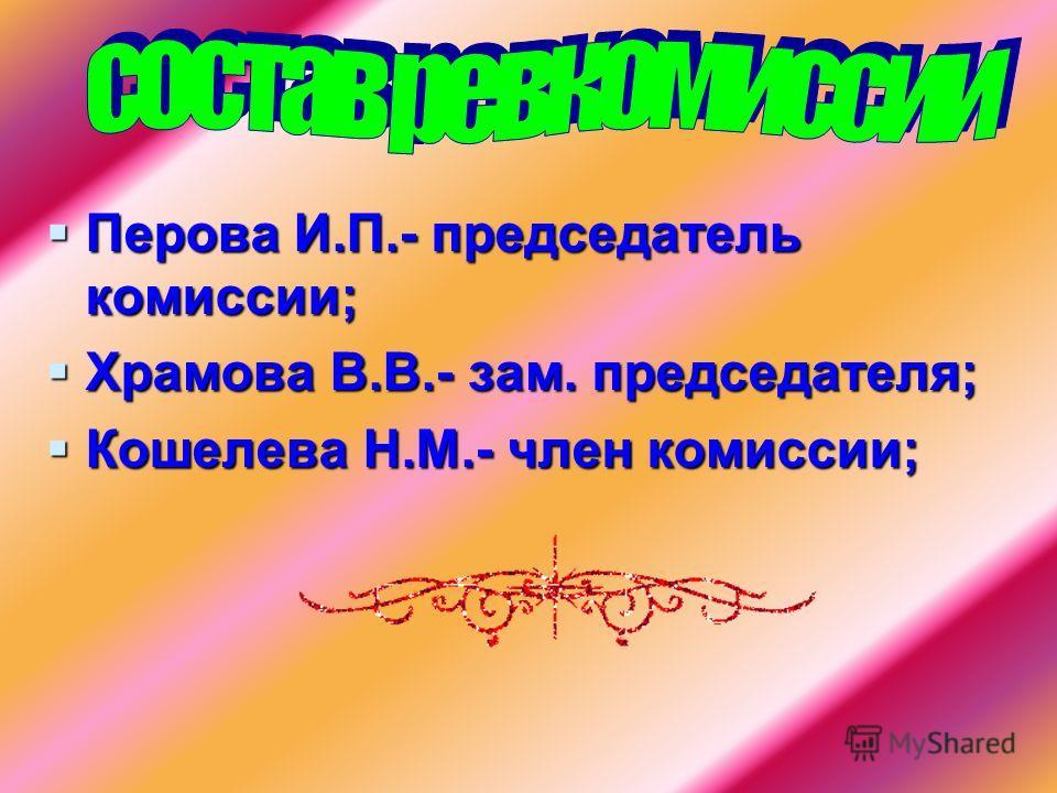 Перова И.П.- председатель комиссии; Храмова В.В.- зам. председателя; Кошелева Н.М.- член комиссии;
