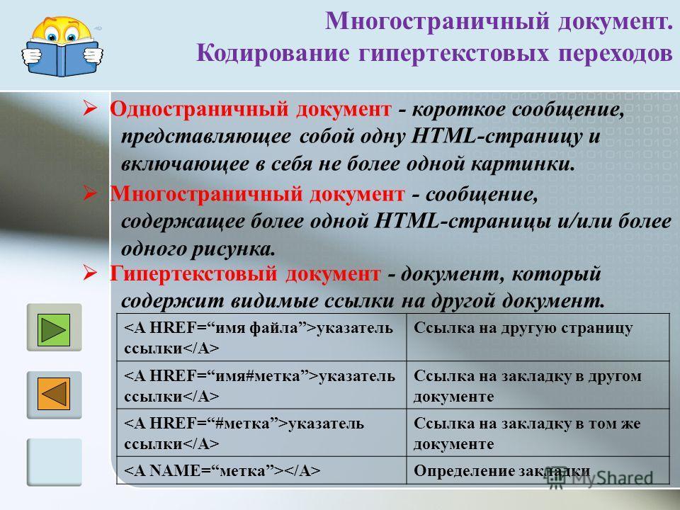 Многостраничный документ. Кодирование гипертекстовых переходов Гипертекстовый документ - документ, который содержит видимые ссылки на другой документ. Одностраничный документ - короткое сообщение, представляющее собой одну HTML-страницу и включающее