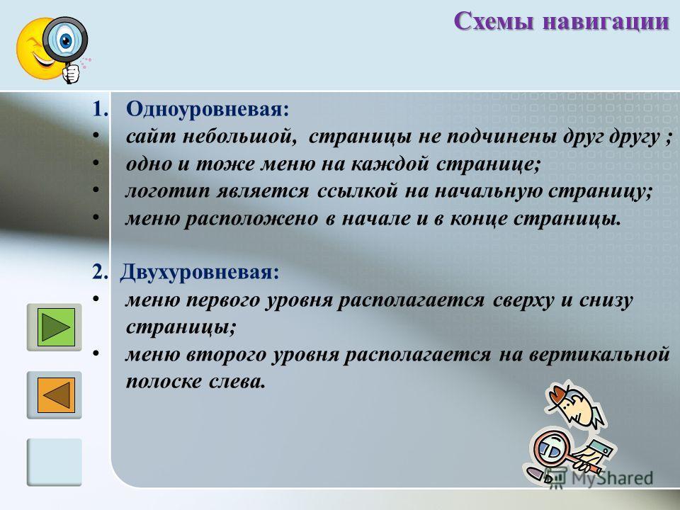 Схемы навигации 1.Одноуровневая: сайт небольшой, страницы не подчинены друг другу ; одно и тоже меню на каждой странице; логотип является ссылкой на начальную страницу; меню расположено в начале и в конце страницы. 2. Двухуровневая: меню первого уров