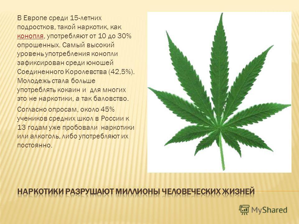 В Европе среди 15-летних подростков, такой наркотик, как конопля, употребляют от 10 до 30% опрошенных. Самый высокий уровень употребления конопли зафиксирован среди юношей Соединенного Королевства (42,5%). Молодежь стала больше употреблять кокаин и д