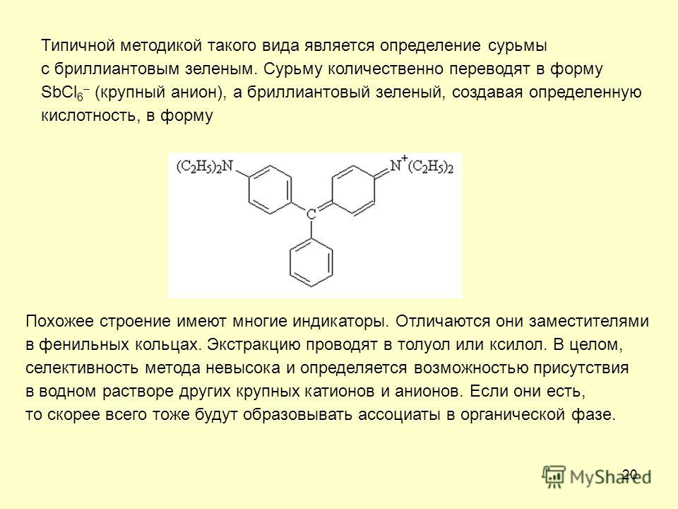 20 Типичной методикой такого вида является определение сурьмы с бриллиантовым зеленым. Сурьму количественно переводят в форму SbCl 6 – (крупный анион), а бриллиантовый зеленый, создавая определенную кислотность, в форму Похожее строение имеют многие