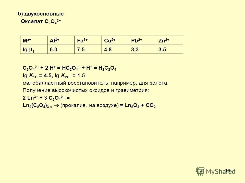 19 б) двухосновные Оксалат C 2 O 4 2– M z+ Al 3+ Fe 3+ Cu 2+ Pb 2+ Zn 2+ lg 1 6.07.54.83.33.5 C 2 O 4 2– + 2 H + = HC 2 O 4 – + H + = H 2 C 2 O 4 lg K 1H = 4.5, lg K 2H = 1.5 малобалластный восстановитель, например, для золота. Получение высокочистых