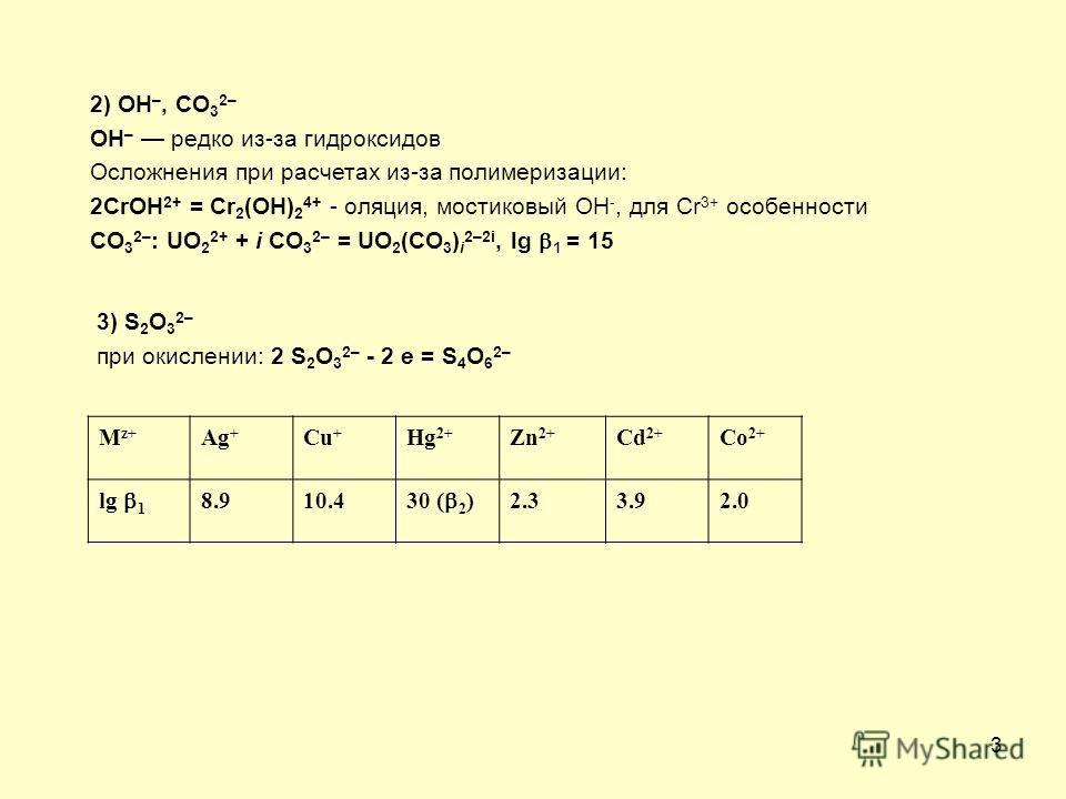 3 2) OH –, CO 3 2– OH – редко из-за гидроксидов Осложнения при расчетах из-за полимеризации: 2CrOH 2+ = Cr 2 (OH) 2 4+ - оляция, мостиковый OH -, для Cr 3+ особенности CO 3 2– : UO 2 2+ + i CO 3 2– = UO 2 (CO 3 ) i 2–2i, lg 1 = 15 3) S 2 O 3 2– при о