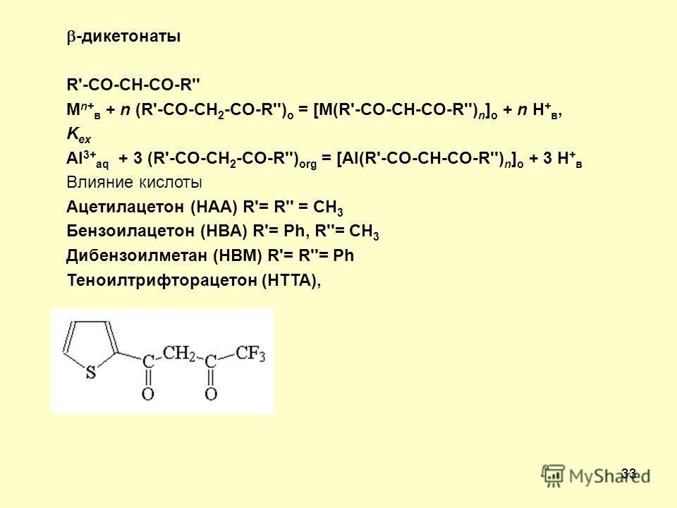 33 -дикетонаты R'-CO-CH-CO-R'' M n+ в + n (R'-CO-CH 2 -CO-R'') о = [M(R'-CO-CH-CO-R'') n ] о + n H + в, K ex Al 3+ aq + 3 (R'-CO-CH 2 -CO-R'') оrg = [Al(R'-CO-CH-CO-R'') n ] о + 3 H + в Влияние кислоты Ацетилацетон (HAA) R'= R'' = CH 3 Бензоилацетон