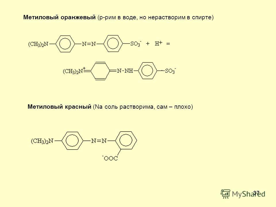 37 Метиловый оранжевый (р-рим в воде, но нерастворим в спирте) Метиловый красный (Na соль растворима, сам – плохо)