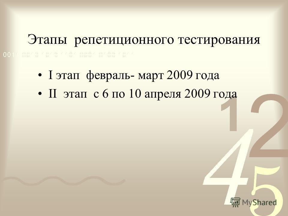 Этапы репетиционного тестирования I этап февраль- март 2009 года II этап с 6 по 10 апреля 2009 года