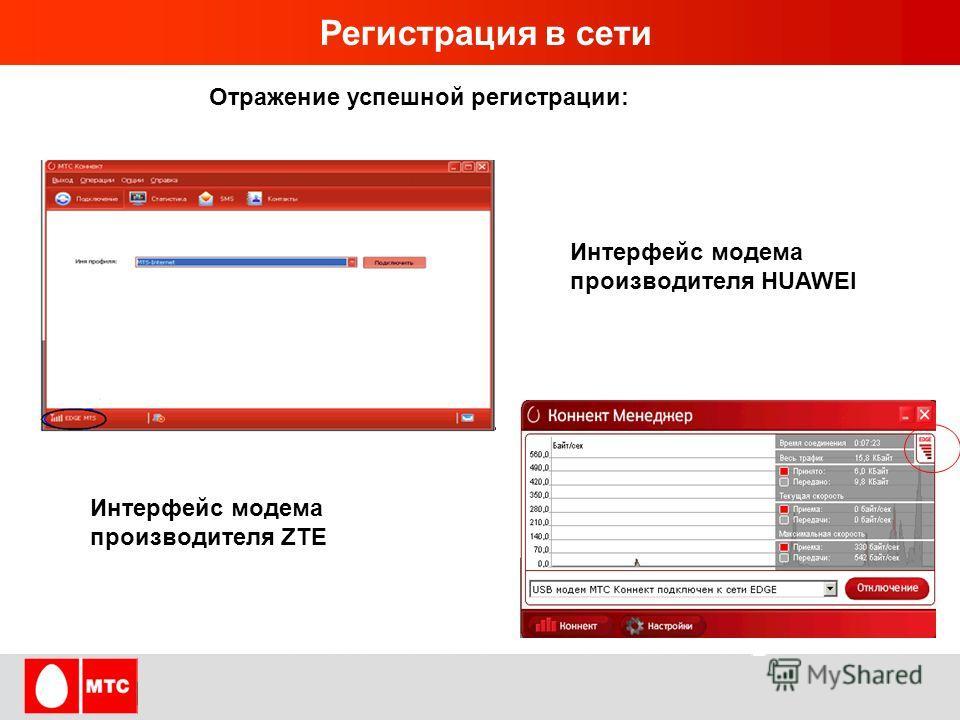 HUAWEI TECHNOLOGIES CO., LTD. Page 5 Регистрация в сети Отражение успешной регистрации: Интерфейс модема производителя ZTE Интерфейс модема производителя HUAWEI
