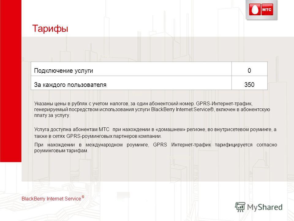 Тарифы VPL Softpacks Email IM Text Подключение услуги0 За каждого пользователя350 Указаны цены в рублях с учетом налогов, за один абонентский номер. GPRS-Интернет-трафик, генерируемый посредством использования услуги BlackBerry Internet Service®, вкл