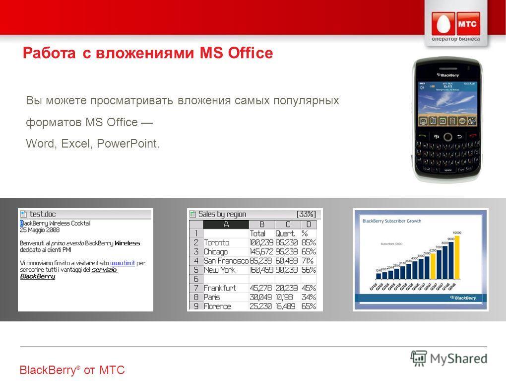 Вы можете просматривать вложения самых популярных форматов MS Office Word, Excel, PowerPoint. Работа с вложениями MS Office BlackBerry ® от МТС