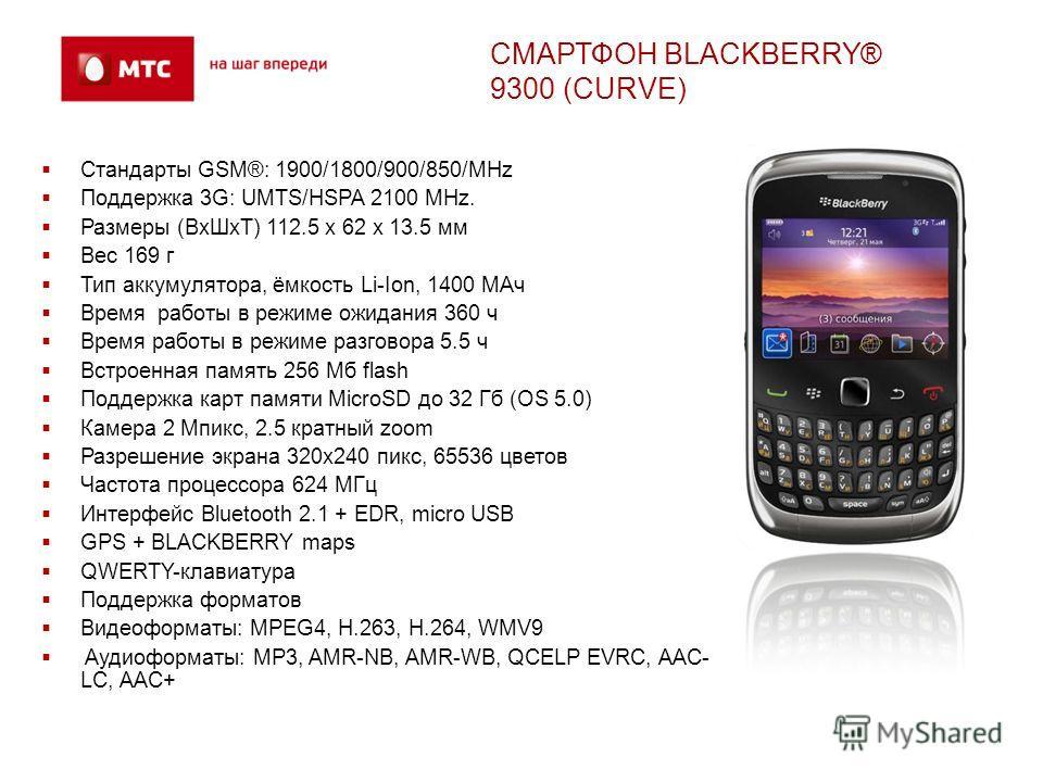 Стандарты GSM®: 1900/1800/900/850/MHz Поддержка 3G: UMTS/HSPA 2100 MHz. Размеры (ВхШхТ) 112.5 x 62 x 13.5 мм Вес 169 г Тип аккумулятора, ёмкость Li-Ion, 1400 МАч Время работы в режиме ожидания 360 ч Время работы в режиме разговора 5.5 ч Встроенная па