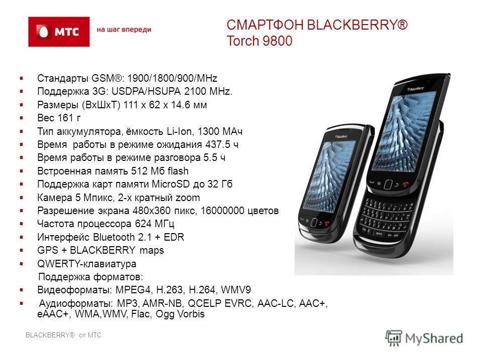 Стандарты GSM®: 1900/1800/900/MHz Поддержка 3G: USDPA/HSUPA 2100 MHz. Размеры (ВхШхТ) 111 x 62 x 14.6 мм Вес 161 г Тип аккумулятора, ёмкость Li-Ion, 1300 МАч Время работы в режиме ожидания 437.5 ч Время работы в режиме разговора 5.5 ч Встроенная памя
