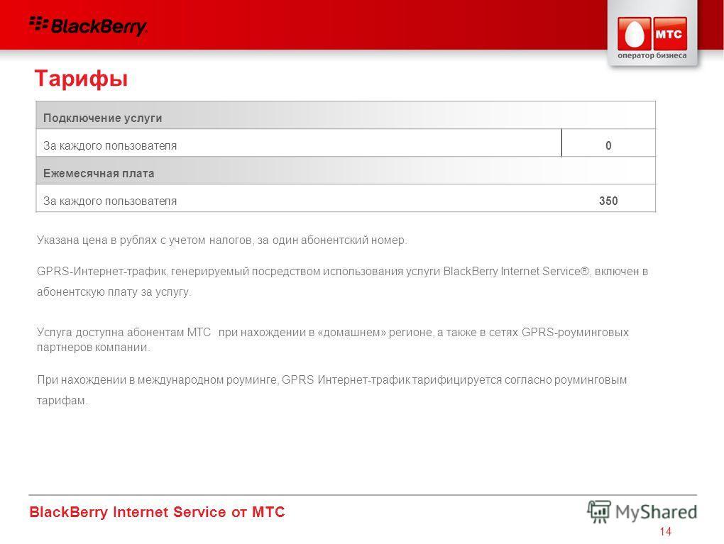 BlackBerry Internet Service от МТС 14 Тарифы Подключение услуги За каждого пользователя0 Ежемесячная плата За каждого пользователя350 Указана цена в рублях с учетом налогов, за один абонентский номер. GPRS-Интернет-трафик, генерируемый посредством ис