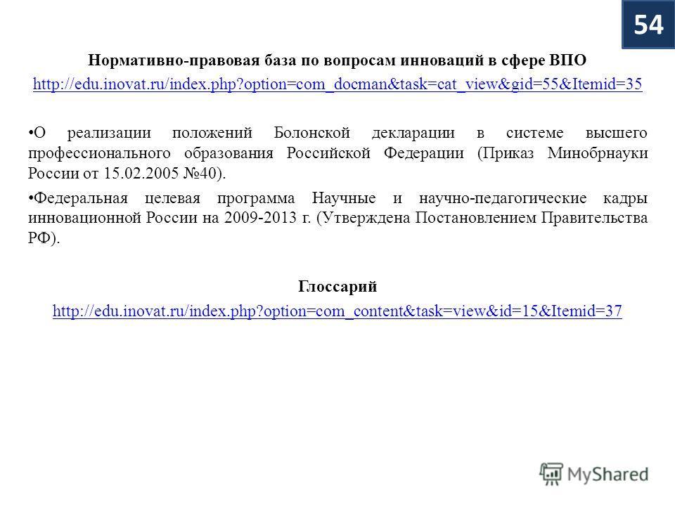 Нормативно-правовая база по вопросам инноваций в сфере ВПО http://edu.inovat.ru/index.php?option=com_docman&task=cat_view&gid=55&Itemid=35 О реализации положений Болонской декларации в системе высшего профессионального образования Российской Федераци