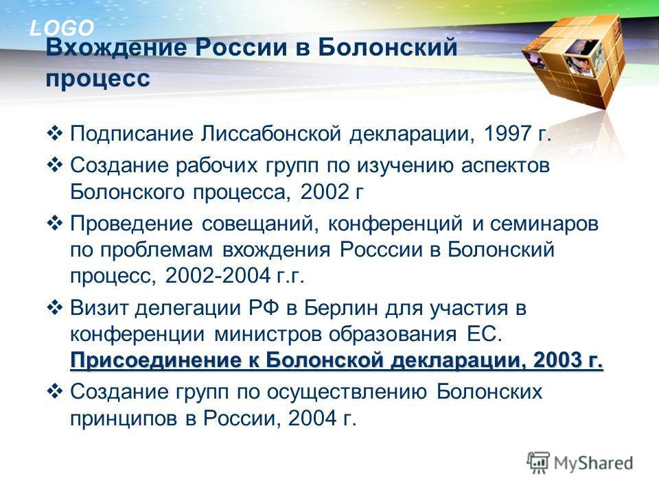 LOGO Вхождение России в Болонский процесс Подписание Лиссабонской декларации, 1997 г. Создание рабочих групп по изучению аспектов Болонского процесса, 2002 г Проведение совещаний, конференций и семинаров по проблемам вхождения Росссии в Болонский про
