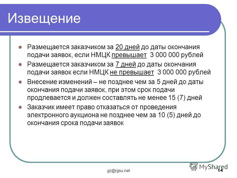 Извещение Размещается заказчиком за 20 дней до даты окончания подачи заявок, если НМЦК превышает 3 000 000 рублей Размещается заказчиком за 7 дней до даты окончания подачи заявок если НМЦК не превышает 3 000 000 рублей Внесение изменений – не позднее