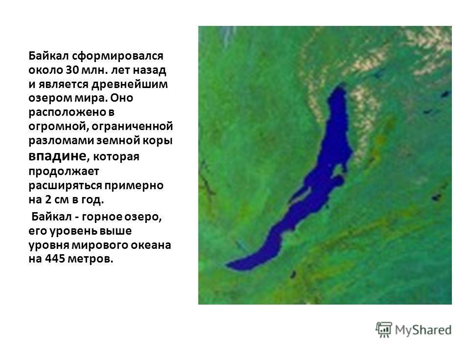 Байкал сформировался около 30 млн. лет назад и является древнейшим озером мира. Оно расположено в огромной, ограниченной разломами земной коры впадине, которая продолжает расширяться примерно на 2 см в год. Байкал - горное озеро, его уровень выше уро