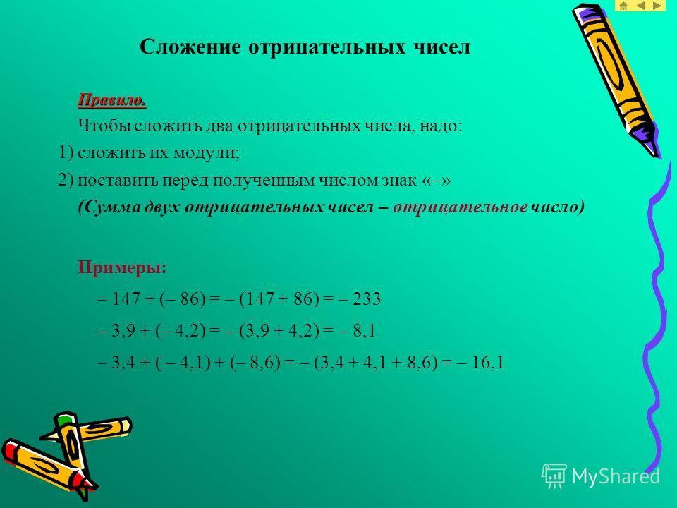 Сложение отрицательных чисел Правило. Чтобы сложить два отрицательных числа, надо: 1)сложить их модули; 2)поставить перед полученным числом знак «–» (Сумма двух отрицательных чисел – отрицательное число) Примеры: – 147 + (– 86) = – (147 + 86) = – 233