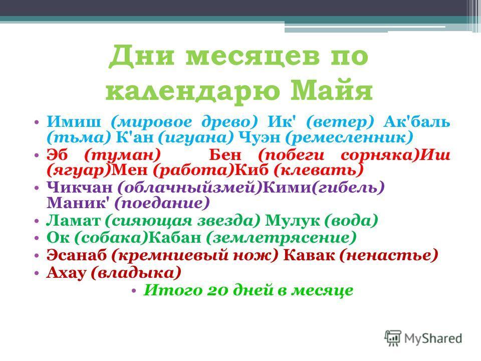 Дни месяцев по календарю Майя Имиш (мировое древо) Ик' (ветер) Ак'баль (тьма) К'ан (игуана) Чуэн (ремесленник) Эб (туман) Бен (побеги сорняка)Иш (ягуар)Мен (работа)Киб (клевать) Чикчан (облачныйзмей)Кими(гибель) Маник' (поедание) Ламат (сияющая звезд