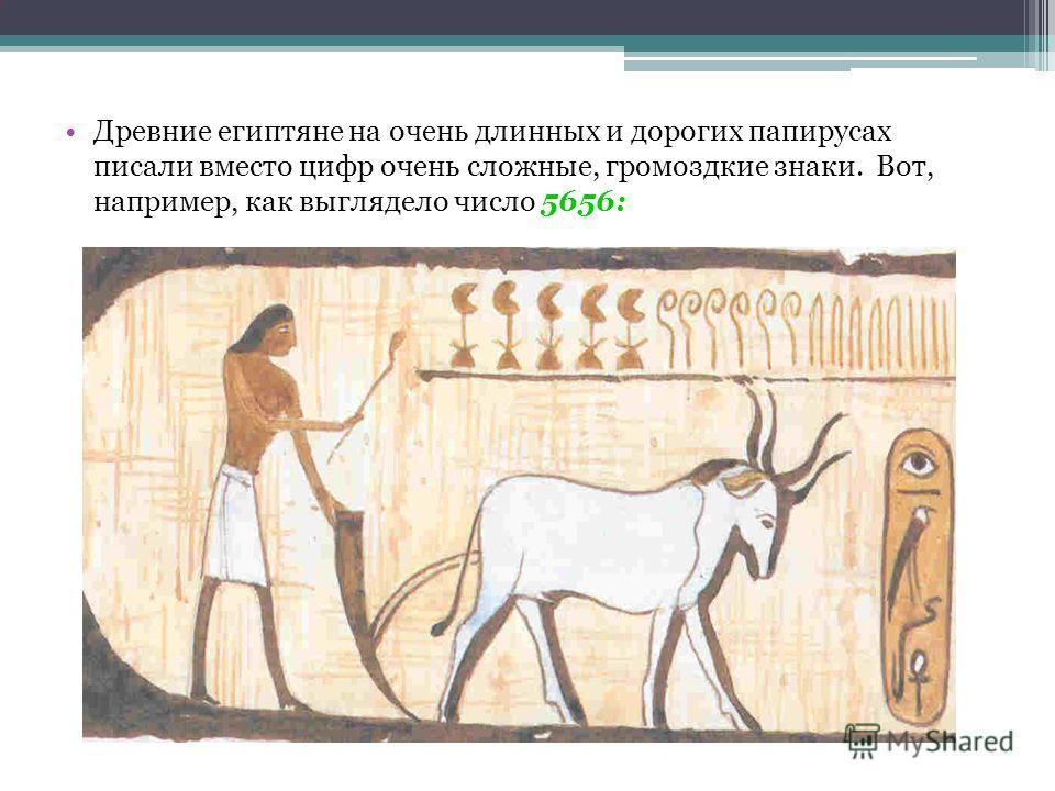 Древние египтяне на очень длинных и дорогих папирусах писали вместо цифр очень сложные, громоздкие знаки. Вот, например, как выглядело число 5656: :