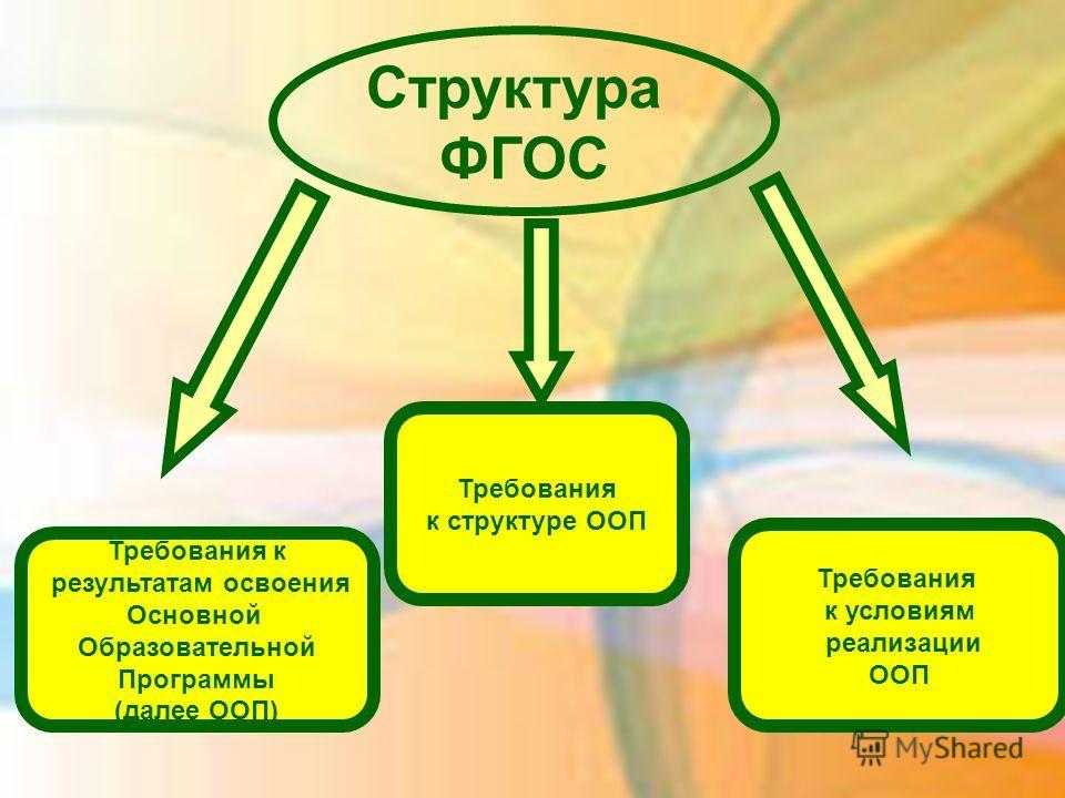 Требования к результатам освоения Основной Образовательной Программы (далее ООП) Требования к структуре ООП Требования к условиям реализации ООП Структура ФГОС