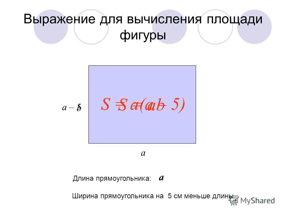 Выражение для вычисления площади фигуры а b S = ab Ширина прямоугольника на 5 см меньше длины Длина прямоугольника: а а а – 5 S = a(а – 5)