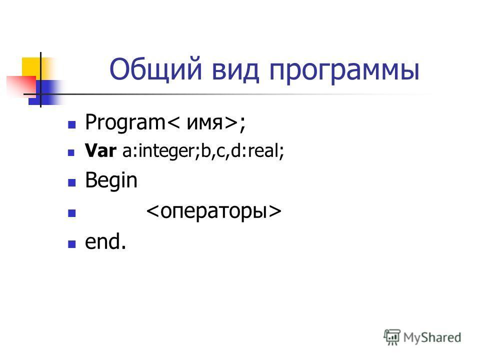 Общий вид программы Program ; Var а:integer;b,c,d:real; Begin end.