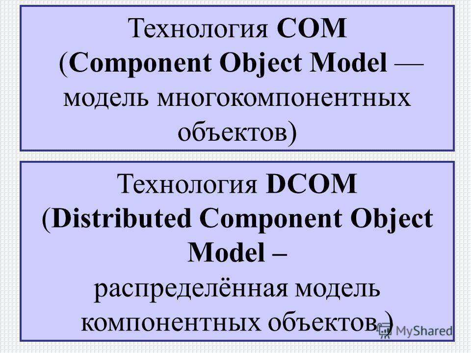 13.12.2013РЭУБД Технология СОМ (Component Object Model модель многокомпонентных объектов) Технология DCOM (Distributed Component Object Model – распределённая модель компонентных объектов )