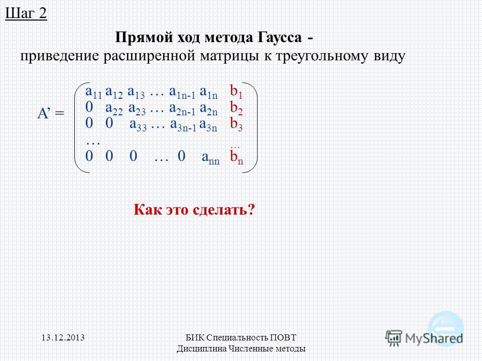 13.12.2013БИК Специальность ПОВТ Дисциплина Численные методы 9 Шаг 2 Прямой ход метода Гаусса - приведение расширенной матрицы к треугольному виду a 11 a 12 a 13 … a 1n-1 a 1n 0 a 22 a 23 … a 2n-1 a 2n 0 0 a 33 … a 3n-1 a 3n … 0 0 0 … 0 a nn A = b1b2