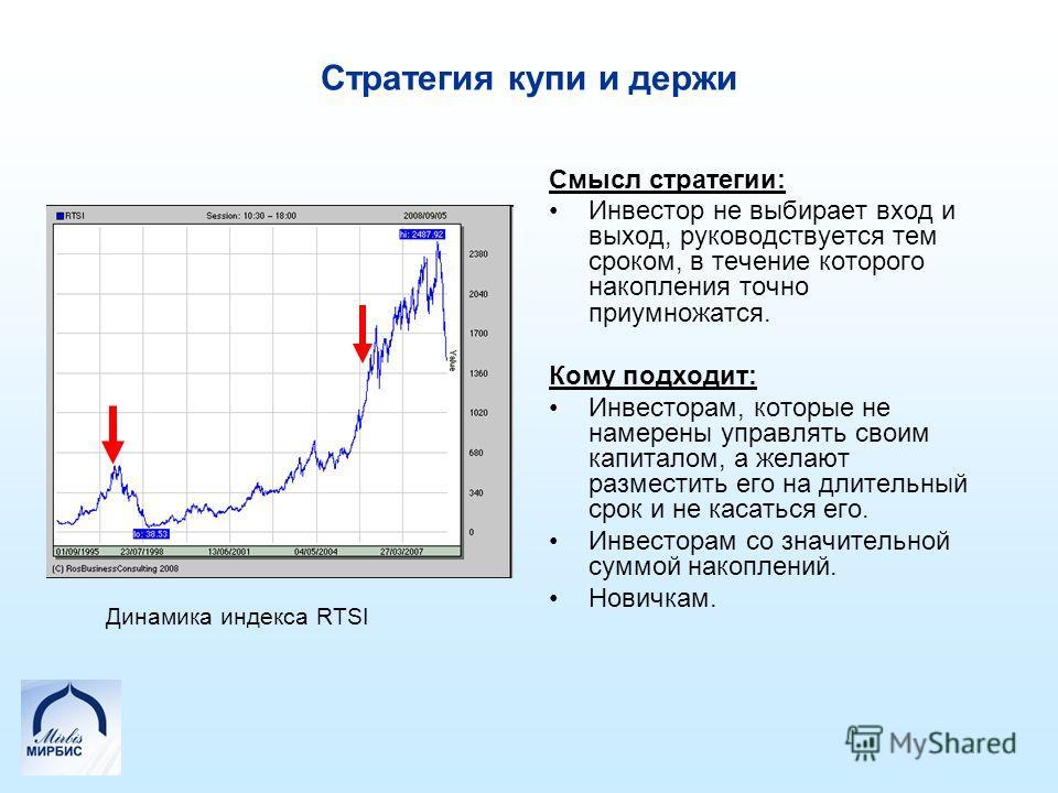 Стратегия купи и держи Смысл стратегии: Инвестор не выбирает вход и выход, руководствуется тем сроком, в течение которого накопления точно приумножатся. Кому подходит: Инвесторам, которые не намерены управлять своим капиталом, а желают разместить его