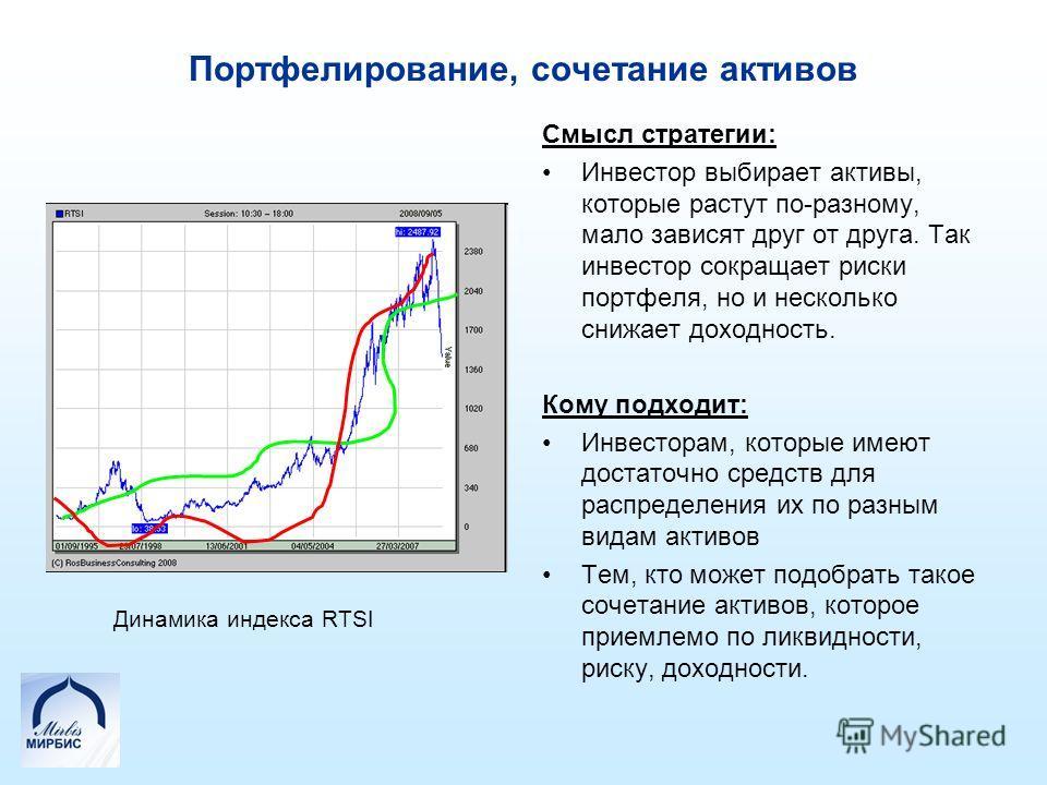Портфелирование, сочетание активов Смысл стратегии: Инвестор выбирает активы, которые растут по-разному, мало зависят друг от друга. Так инвестор сокращает риски портфеля, но и несколько снижает доходность. Кому подходит: Инвесторам, которые имеют до