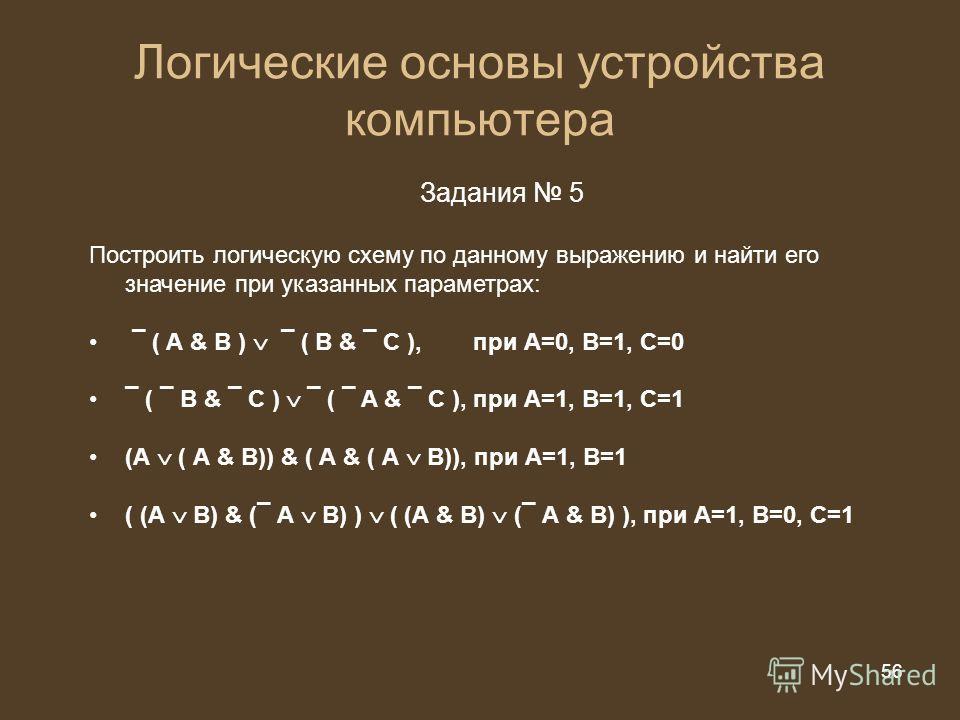56 из 20 56 Логические основы устройства компьютера Задания 5 Построить логическую схему по данному выражению и найти его значение при указанных параметрах: ¯ ( А & B ) ¯ ( B & ¯ C ), при А=0, В=1, С=0 ¯ ( ¯ B & ¯ C ) ¯ ( ¯ A & ¯ C ),при А=1, В=1, С=